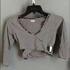 Hollister black and white stripped crop top.